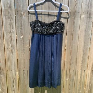Bisou Bisou Navy Silk Dress with Beading